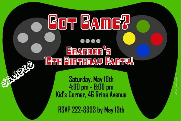 Video Game Controller Birthday Invitations ANY COLOR   Get These Invitations  RIGHT NOW. Design Yourself