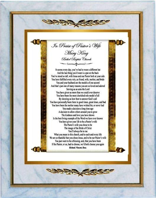 In Praise of Pastor's Wife   Pastor appreciation poems