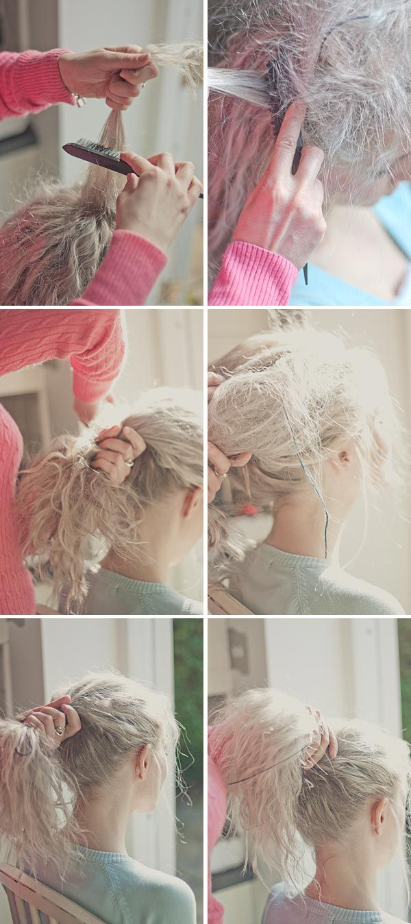 A tutorial on how to create a messy textured bun messy buns