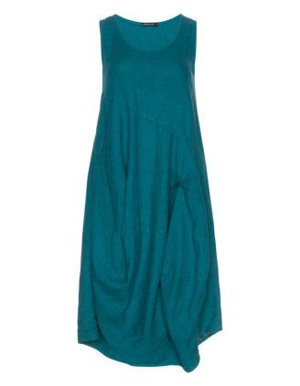 877a543f440 Gathered linen dress in Petrol designed by Grizas to find in Category  Dresses at navabi.de