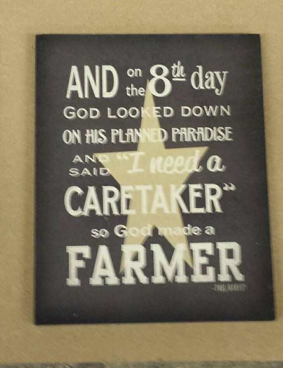 Personalized And on 8th day So God Made A Farmer Wood Sign or Print