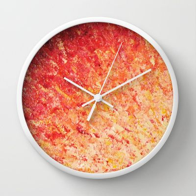 SAILOR'S SUNRISE - Beautiful Colorful Summer Ombre Modern Abstract Crimson Burgundy Magenta Poppy Red Cherry Red Tangerine Blood Orange Peach Coral and Pink Nature Sky Sunrise Sunset Ocean Reflection Modern Whimsical Decorative Fine Art Home Decor Wall Clock by EbiEmporium - $30.00