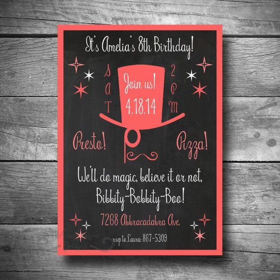 Printable Magic Party Invitation, Magician Birthday Invite