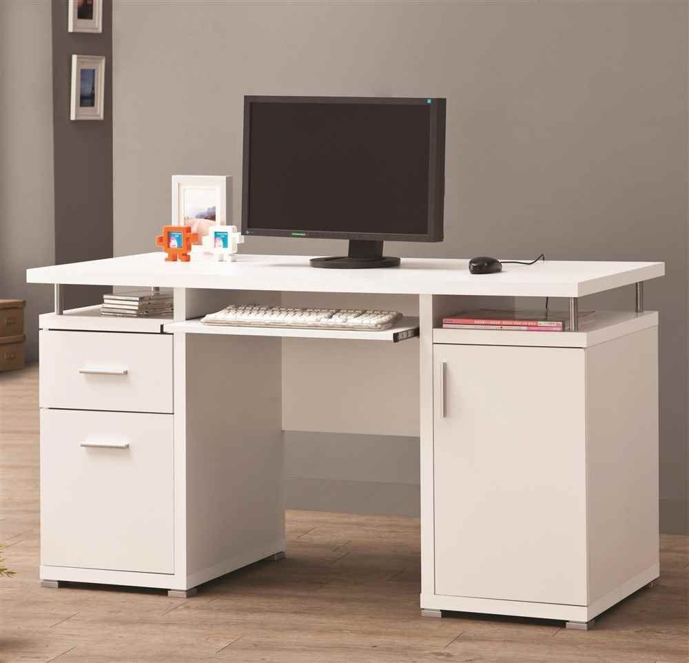Captivating Computer Desks White Wood Construction Pull Out Keyboard Tray 2  Drawer File Storage One Cabinet