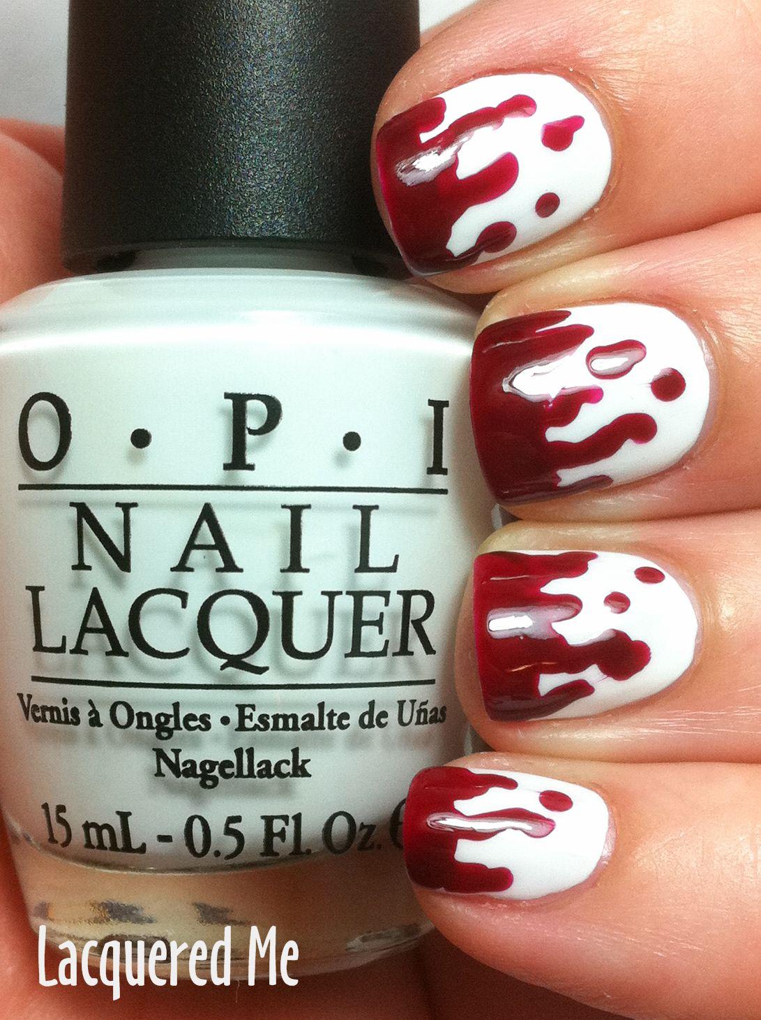 Blood drip Halloween nails. Spooky!