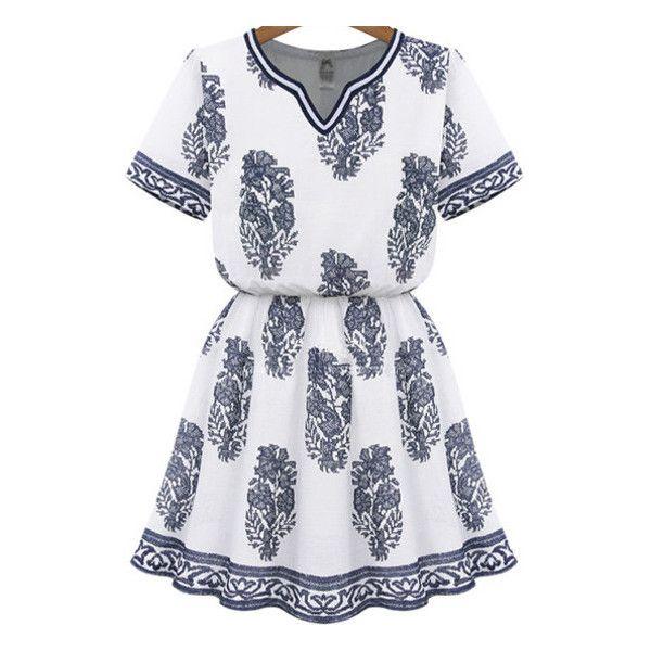 SheIn(sheinside) White V Neck Blouson Short Sleeve Floral Dress (155 SEK) ❤ liked on Polyvore featuring dresses, vestidos, multicolor, vintage dresses, floral skater dress, white v neck dress, long-sleeve floral dresses and short floral dresses