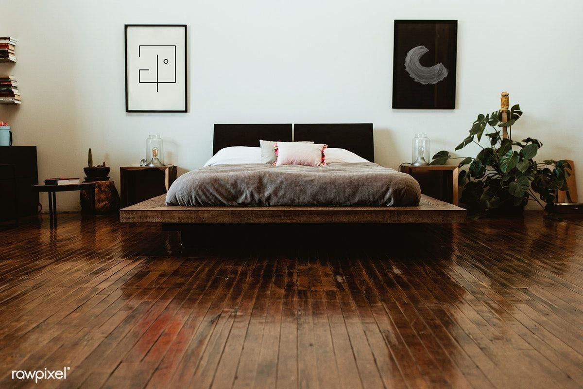 Download Premium Photo Of Industrial Bedroom With Dark Wooden Floors In 2020 Dark Wooden Floor Industrial Bedroom Loft Style Apartments