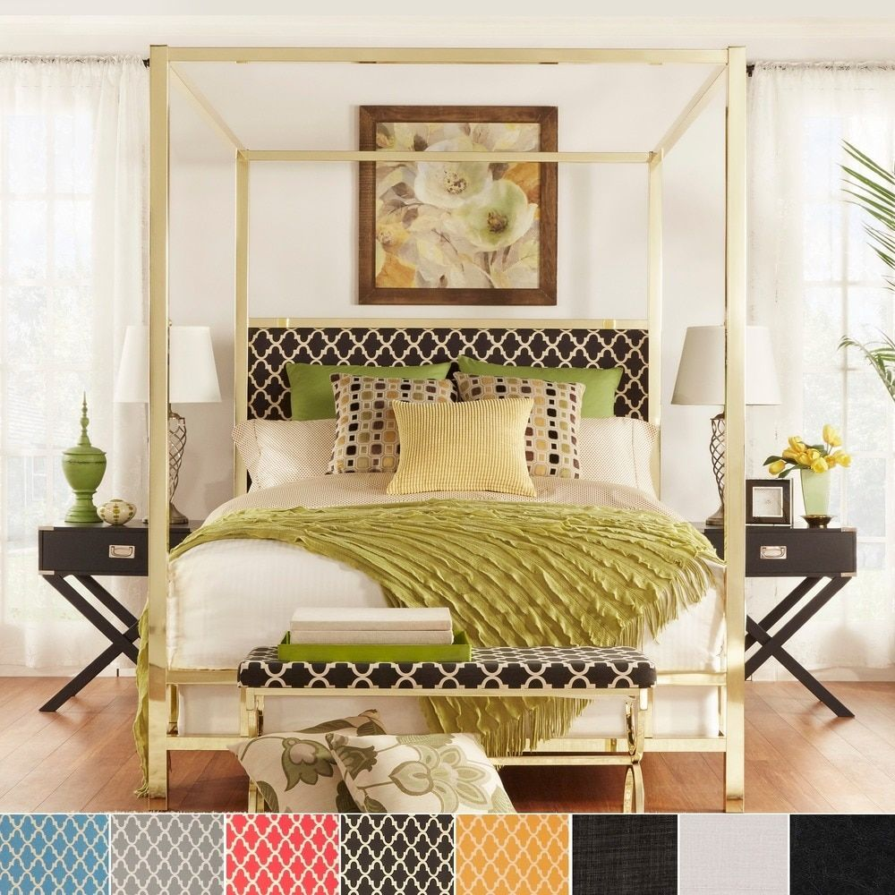 Solivita King-size Canopy Gold Metal Poster Bed by INSPIRE Q
