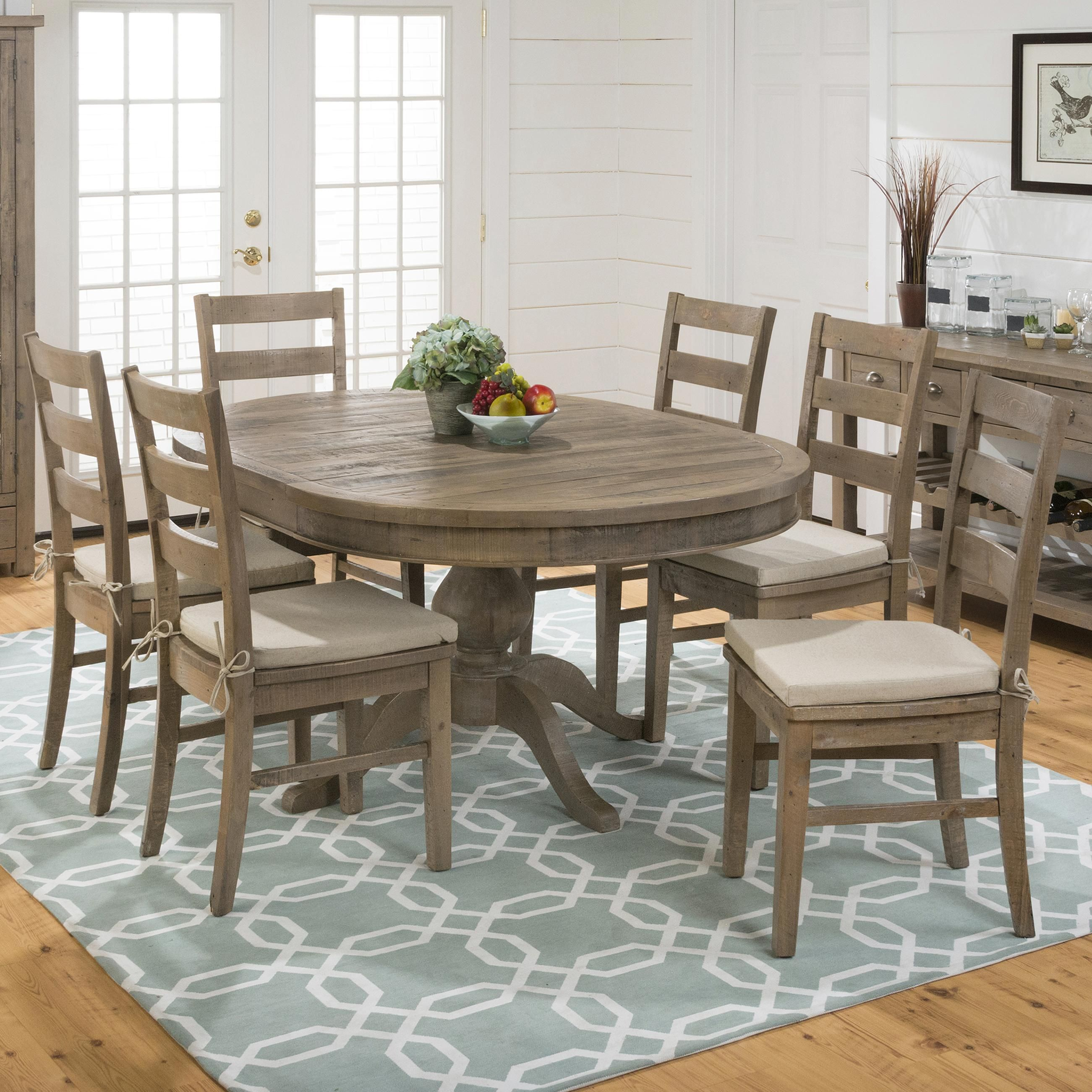 Slater Mill Pine Oval Table And Ladderback Chair Set By