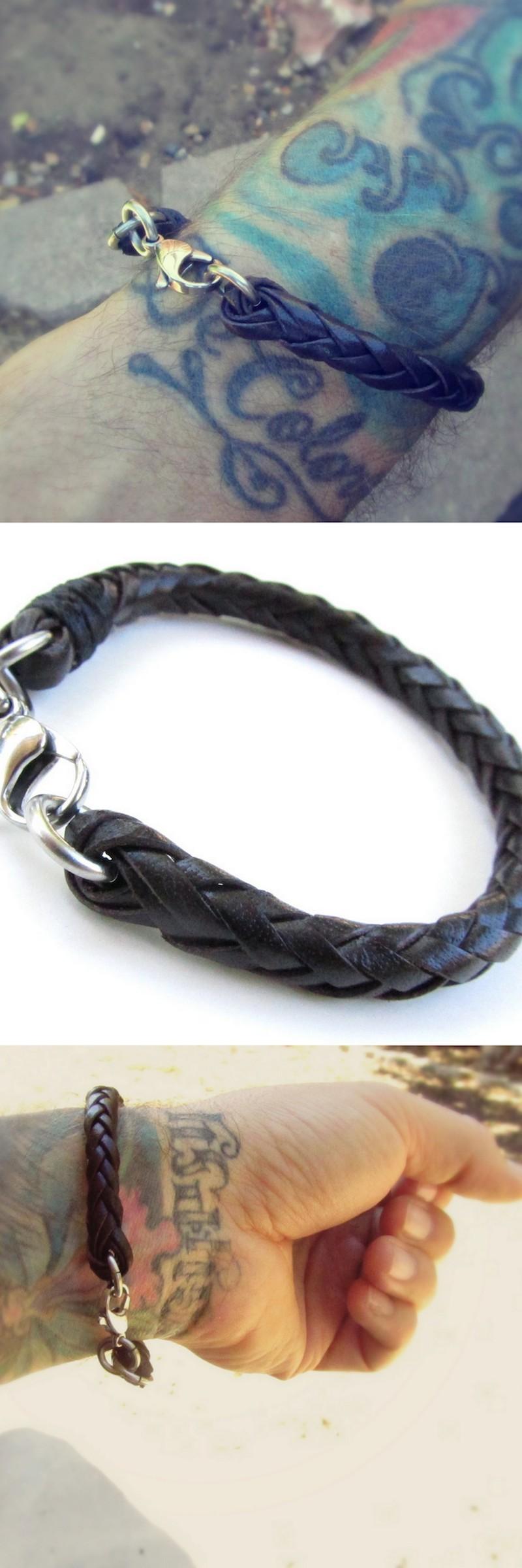 Mens braided leather bracelet tattoo sanfilippoleather