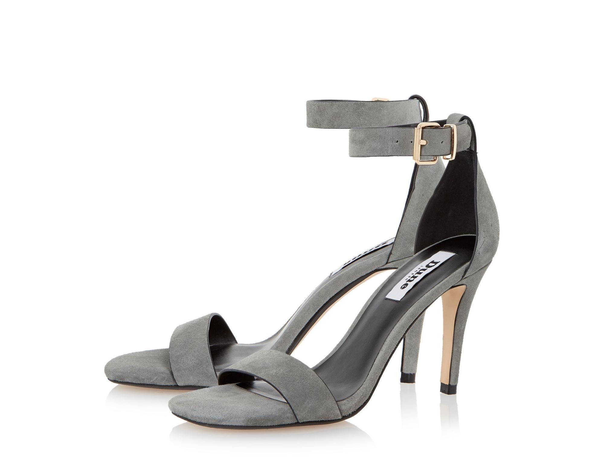 DUNE LADIES MARA - Suede Square Toe Two Part High Heel Sandal - grey | Dune