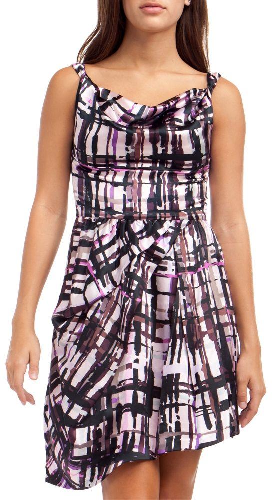 + Printed Cowl Drape Party Dress, Pink