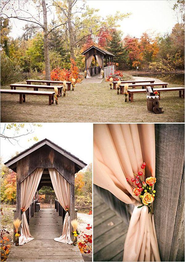 Ceremony decorating ideas Burlap autumn florals benches