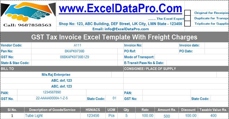 Download Excel Format of Tax Invoice in GST GST - Goods and - create invoice in excel