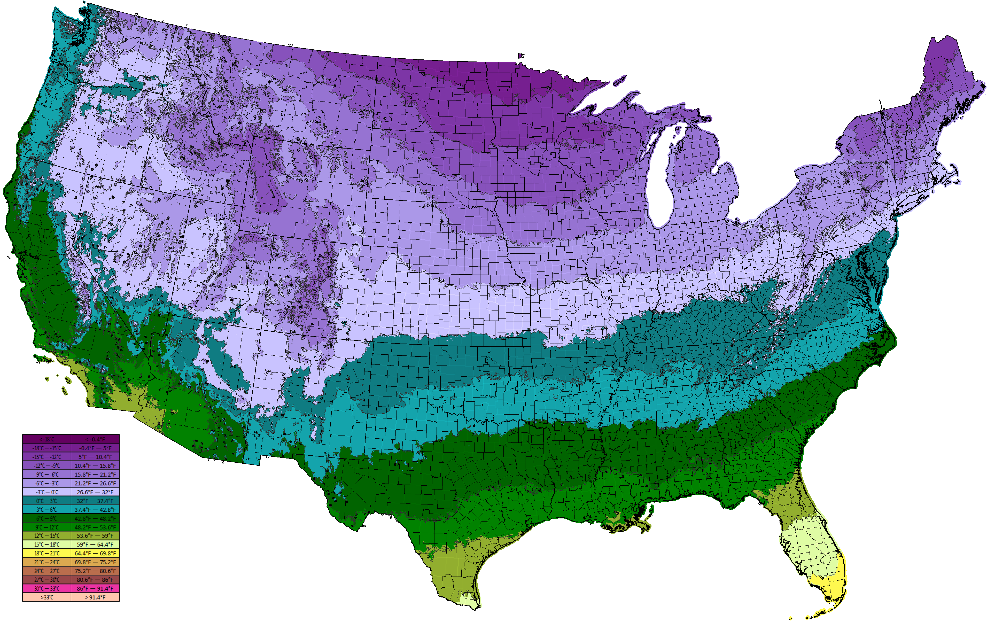 Image Result For Usa Average Low Annual Temperature Map Moderate - Average temp map us
