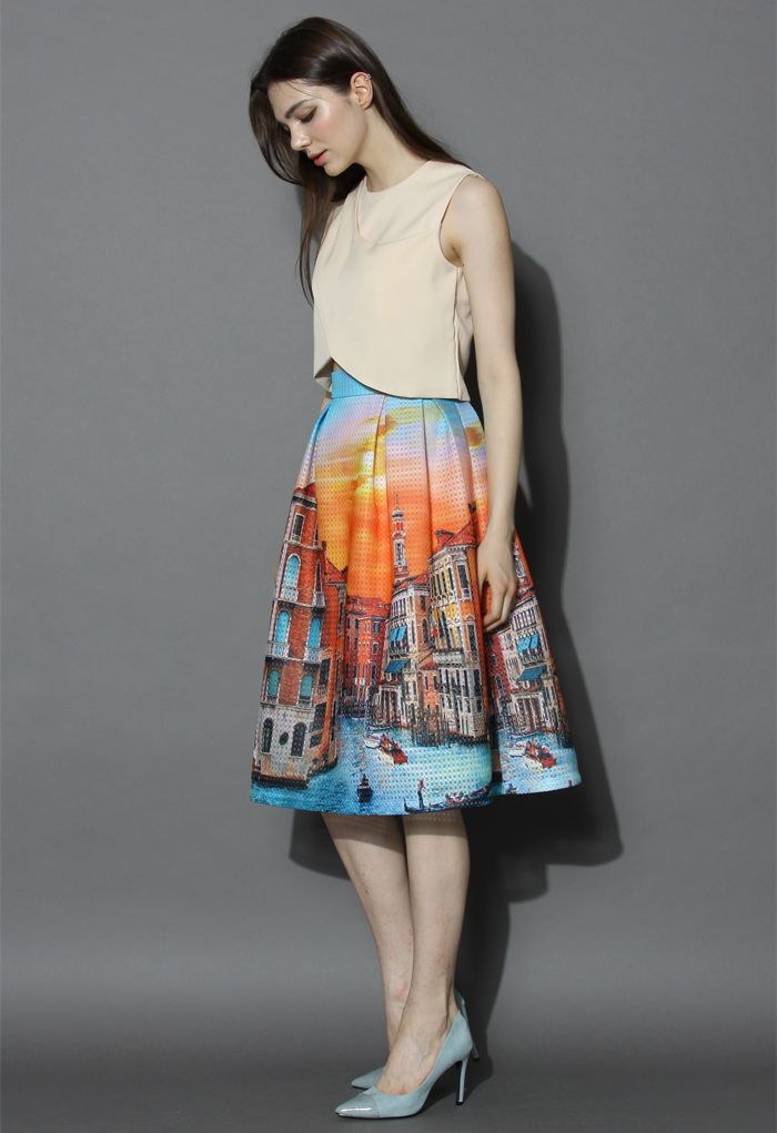 Sunset in Venice Pleated Midi Skirt - Skirt - Bottoms - Retro, Indie and Unique Fashion