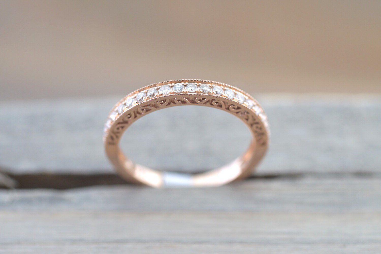 Kt rose gold diamond milgrain etching vintage wedding engagement