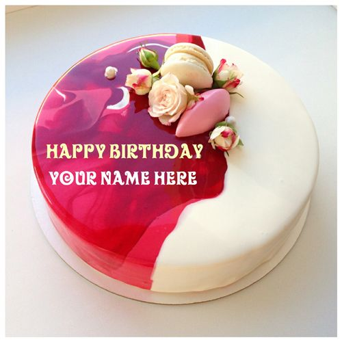 Rose Vanilla Flavoured Birthday Cake With Mom Name On It Flower
