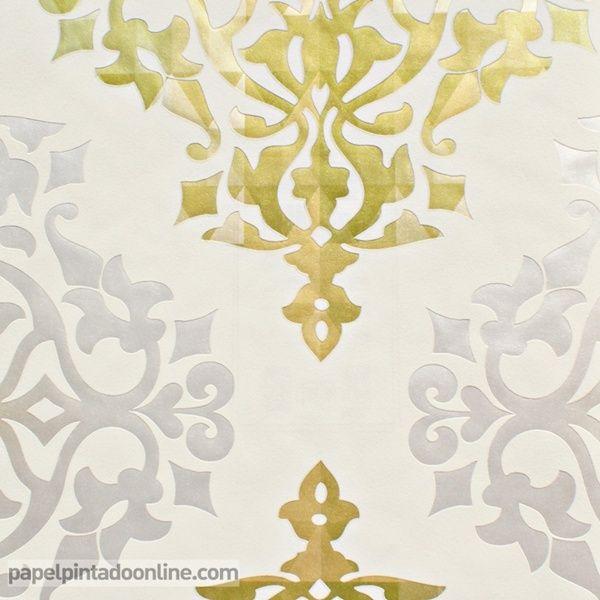 Papel pintado flock 4 95614 4 papel pintado de fondo blanco roto con dibujos florales en - Papel pintado color plata ...