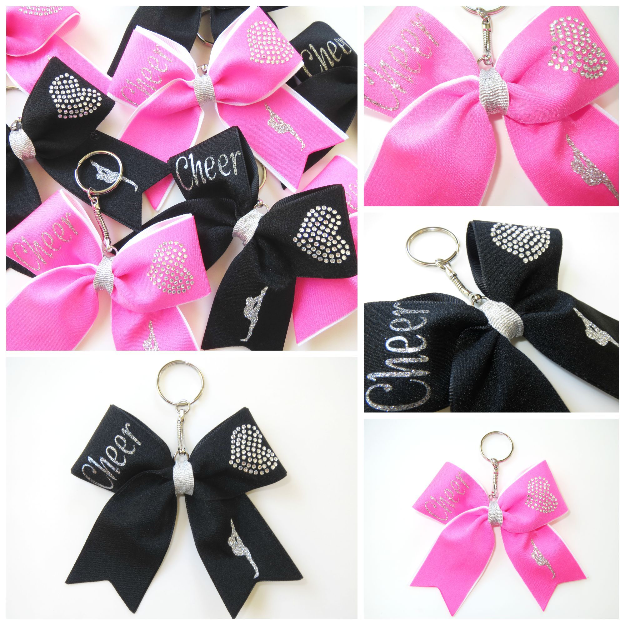 Bow Key Chains <3 <3 #cheer #pink #black #silver #rhinestones #bling ...
