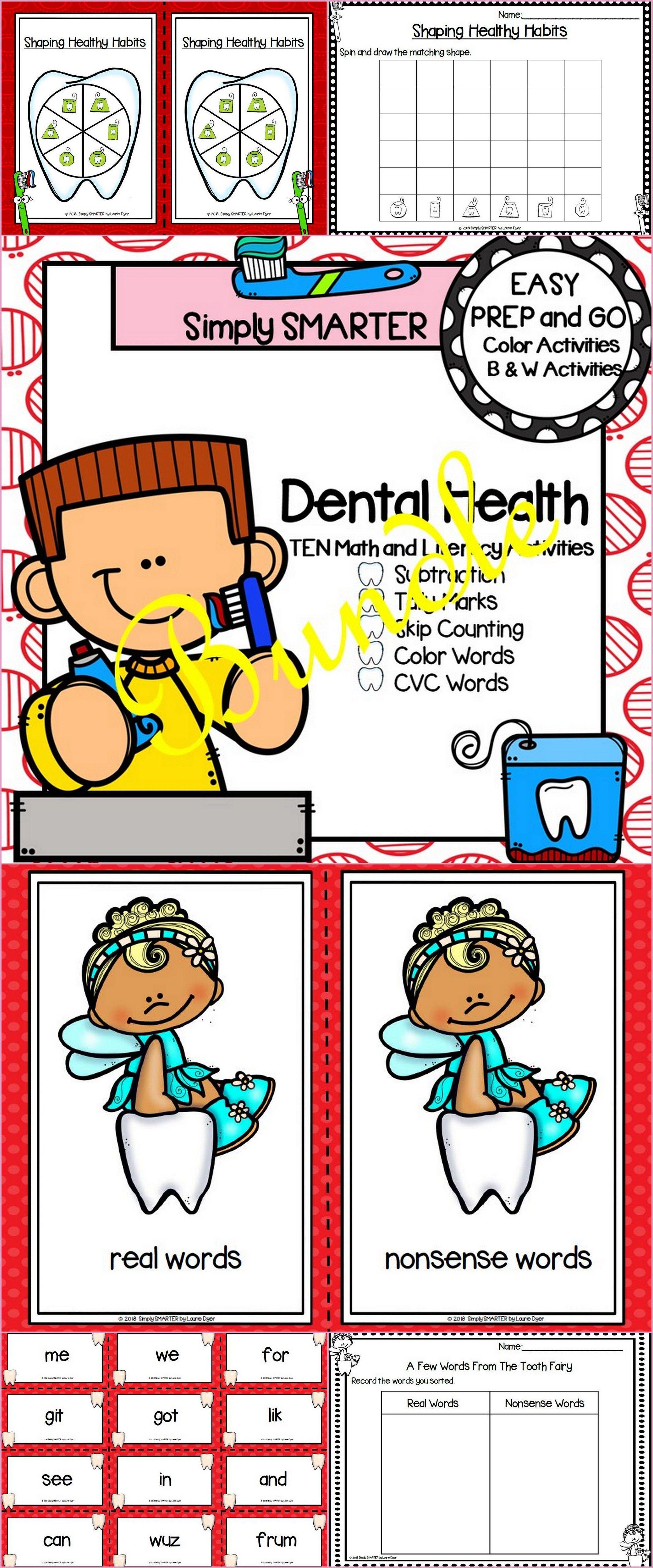 Easy Prep Dental Health Math And Literacy Center