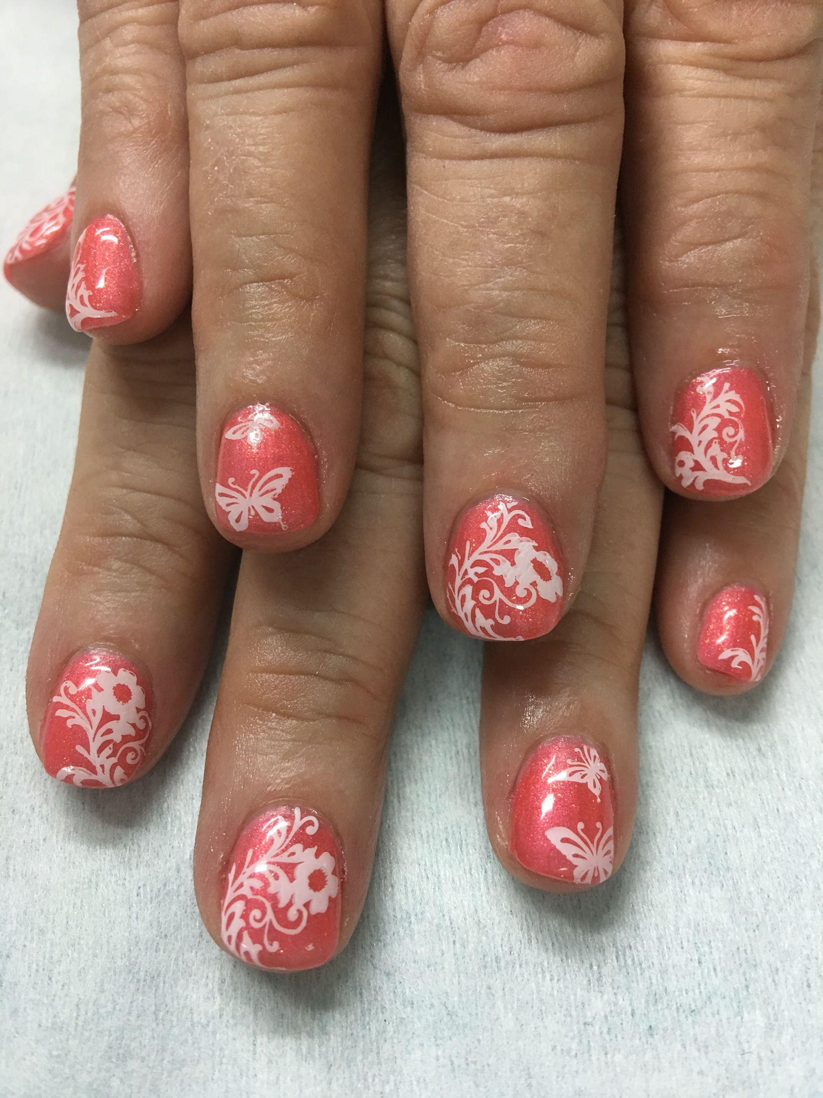 Shimmer Summer coral stamped gel nails | Gel Nail designs