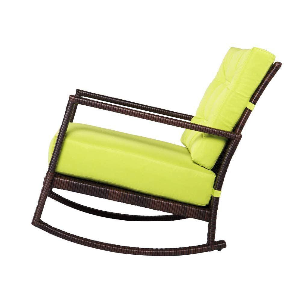 Outroad rocking wicker chair green lounge chair with thick cushion