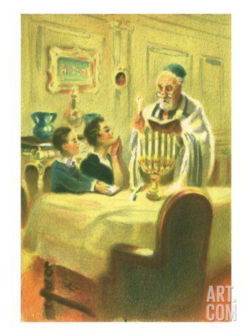 Hanukkah Celebration, 1952 Giclee Print at eu.art.com