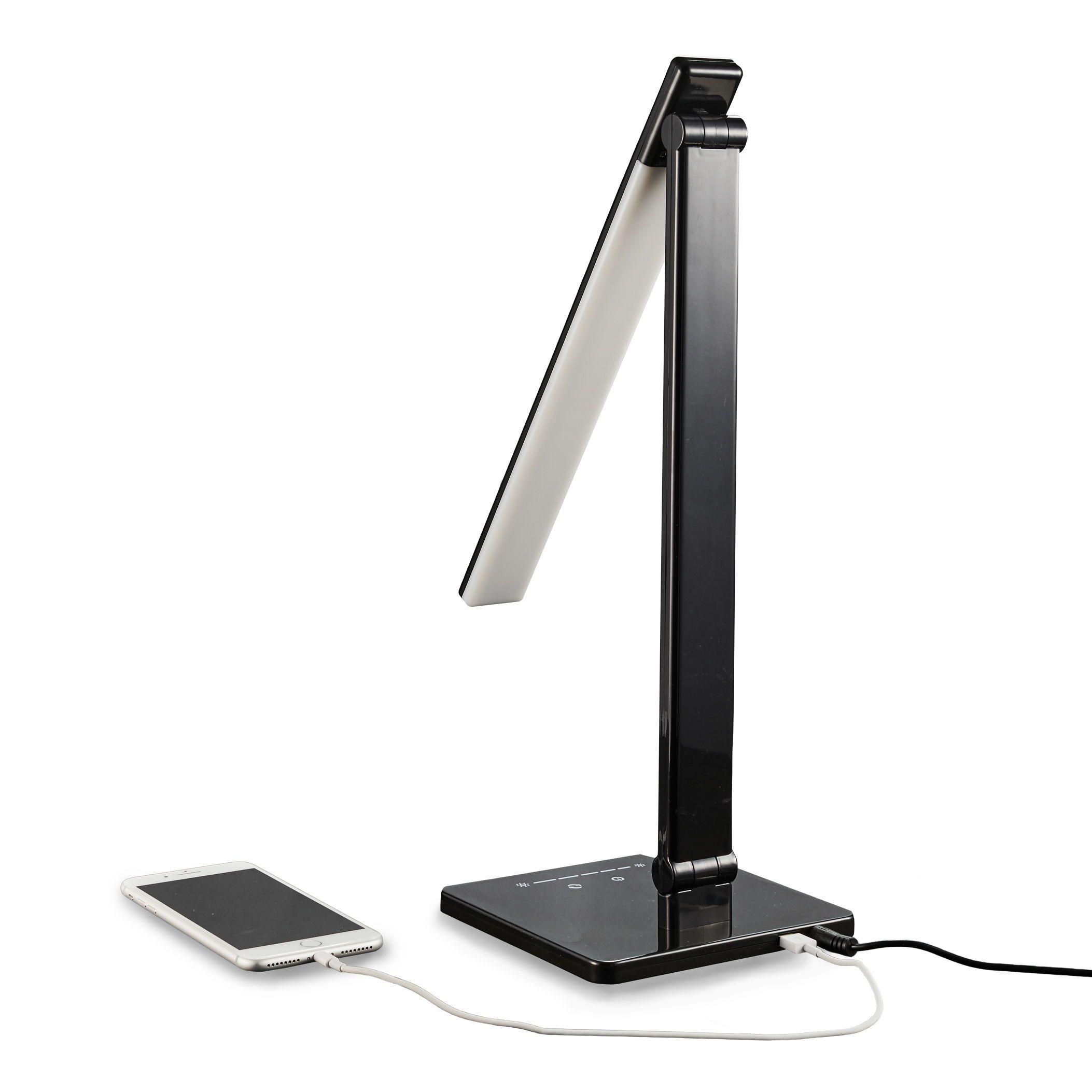 LED Touch Schreibtischlampe Dimmbar Tischlampe USB Lade mit Kalender Weiß DOST