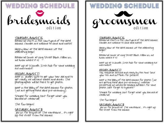 schedules for the wedding partyyou must do this, I did and it - wedding weekend itinerary template