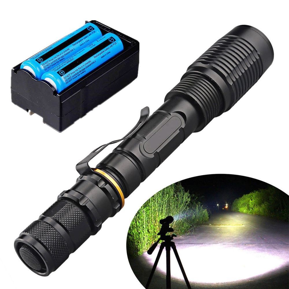 50000 LM T6 Zoom Tactical LED Flashlight Torch Lamp+18650 Battery+Charger UD