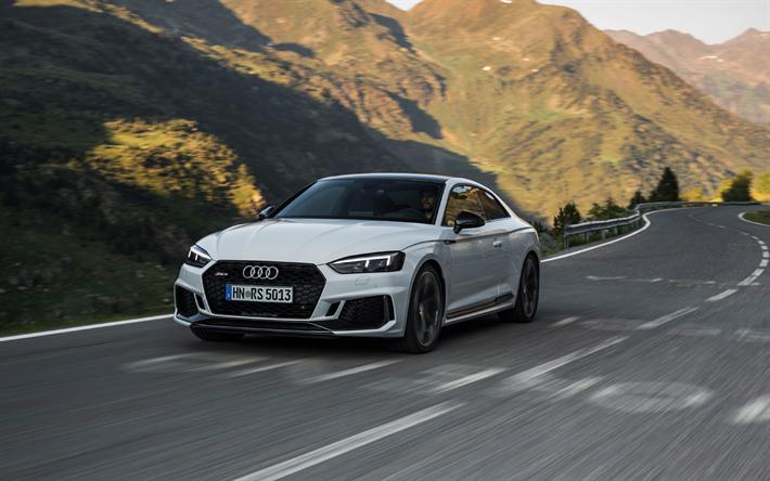 Lataa kuva Audi RS5 Coupe, 2018, 4k, valkoinen RS5, urheilu coupe, uusi, Saksan autoja, Audi