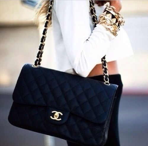 black quilted chanel purse | white top | black bottoms | gold ... : chanel black quilted bag gold chain - Adamdwight.com