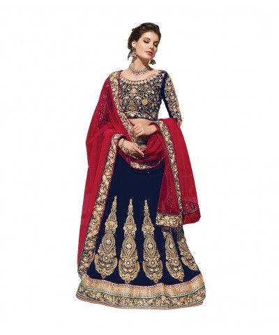 3ea447d64d Cream color velvet designer stone work lehenga with choli  Dupatta-HIQUE-21001 Buy Exclusive Lehenga Choli Online at Best Prices upto  50% off from ...