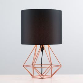 Angus Geometric Brushed Copper Base Table Lamp Black Ranges