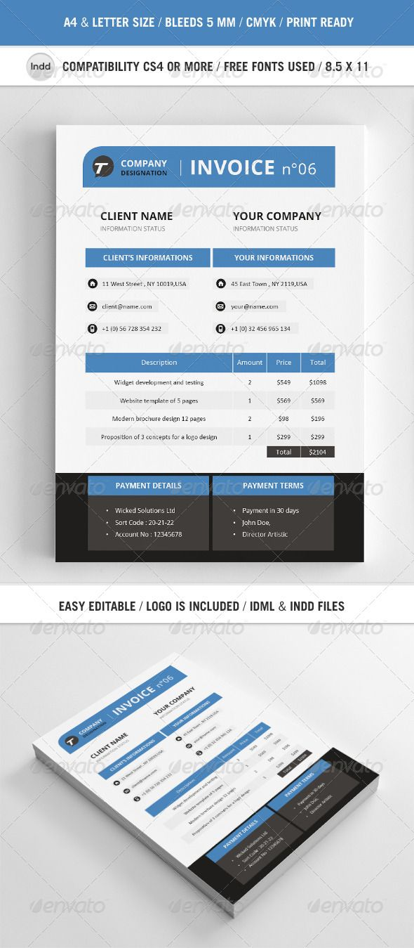 Professional Invoice Template A  Template Proposal Templates