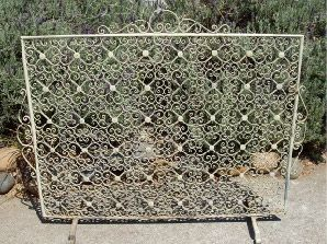 Vintage Wrought Iron Fireplace Screen. Circa 1940s