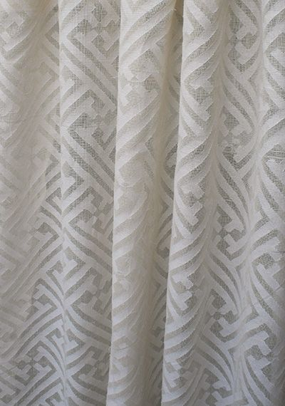Mandarin Cutwork Sheer Natural Fabric By P Kaufmann Curtains Geometric Pattern Fabric Decor Black And White Fabric