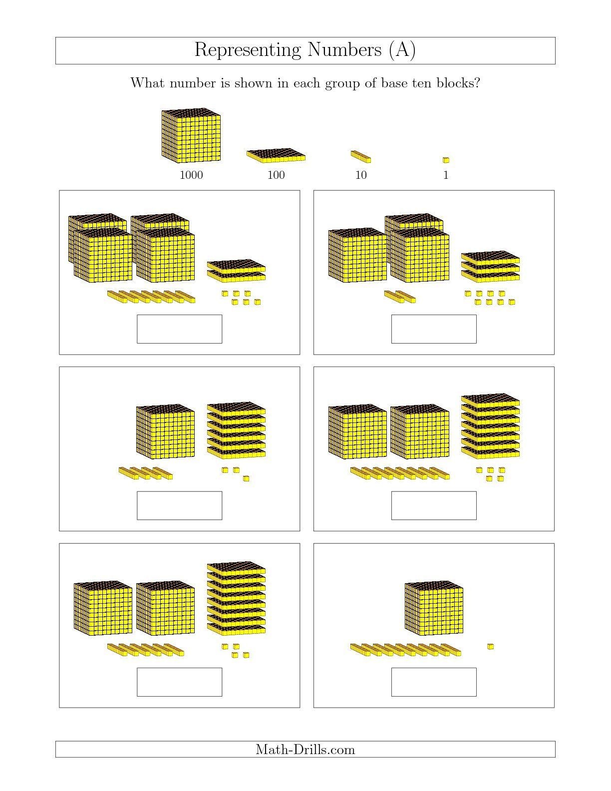 The Representing Numbers to 4999 with Base Ten Blocks (A) math worksheet  from the Base Ten Blocks Worksheet page at Math-D…   Base ten blocks [ 1584 x 1224 Pixel ]