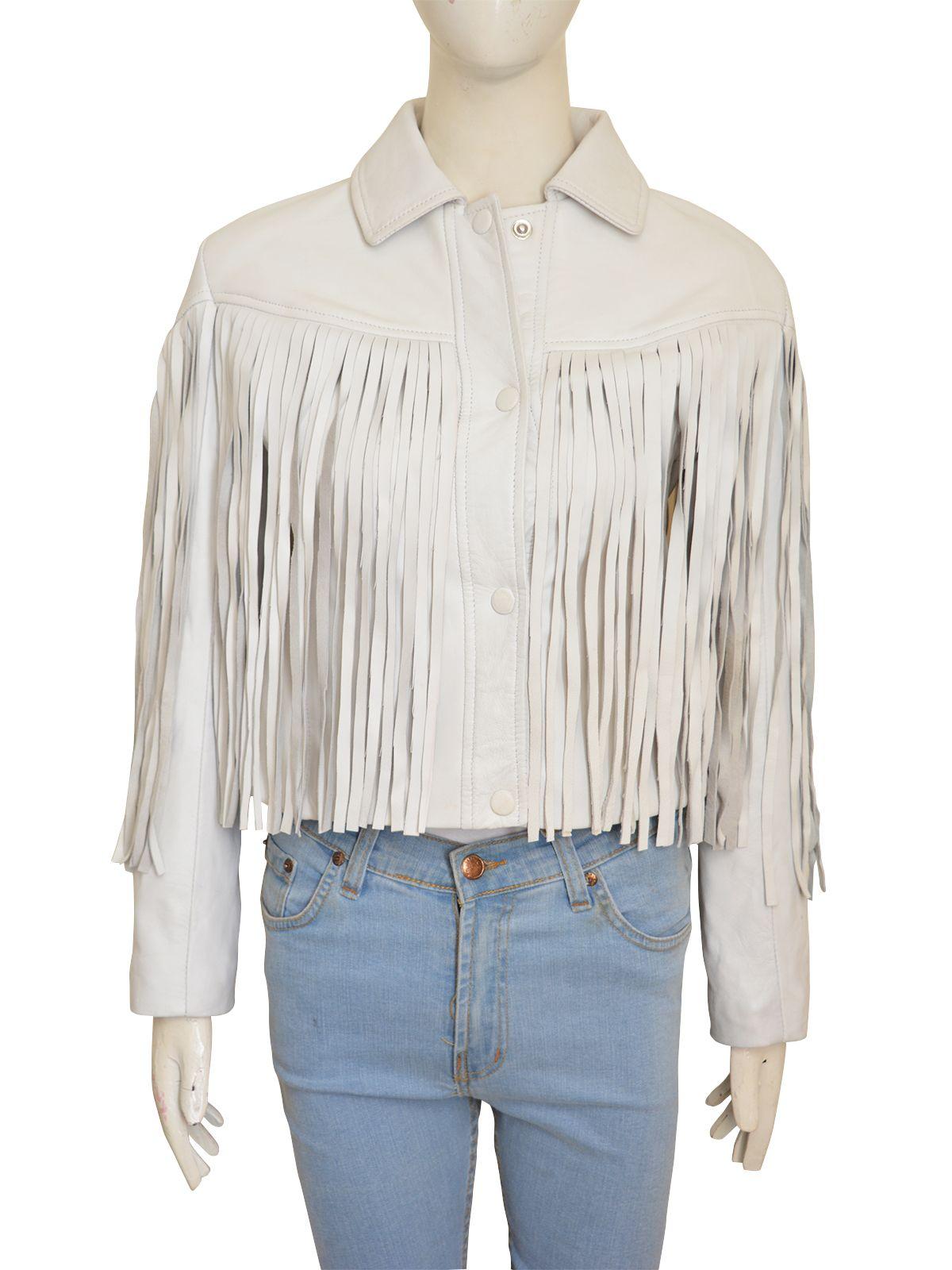 White Fringe Leather Jacket Fringe leather jacket