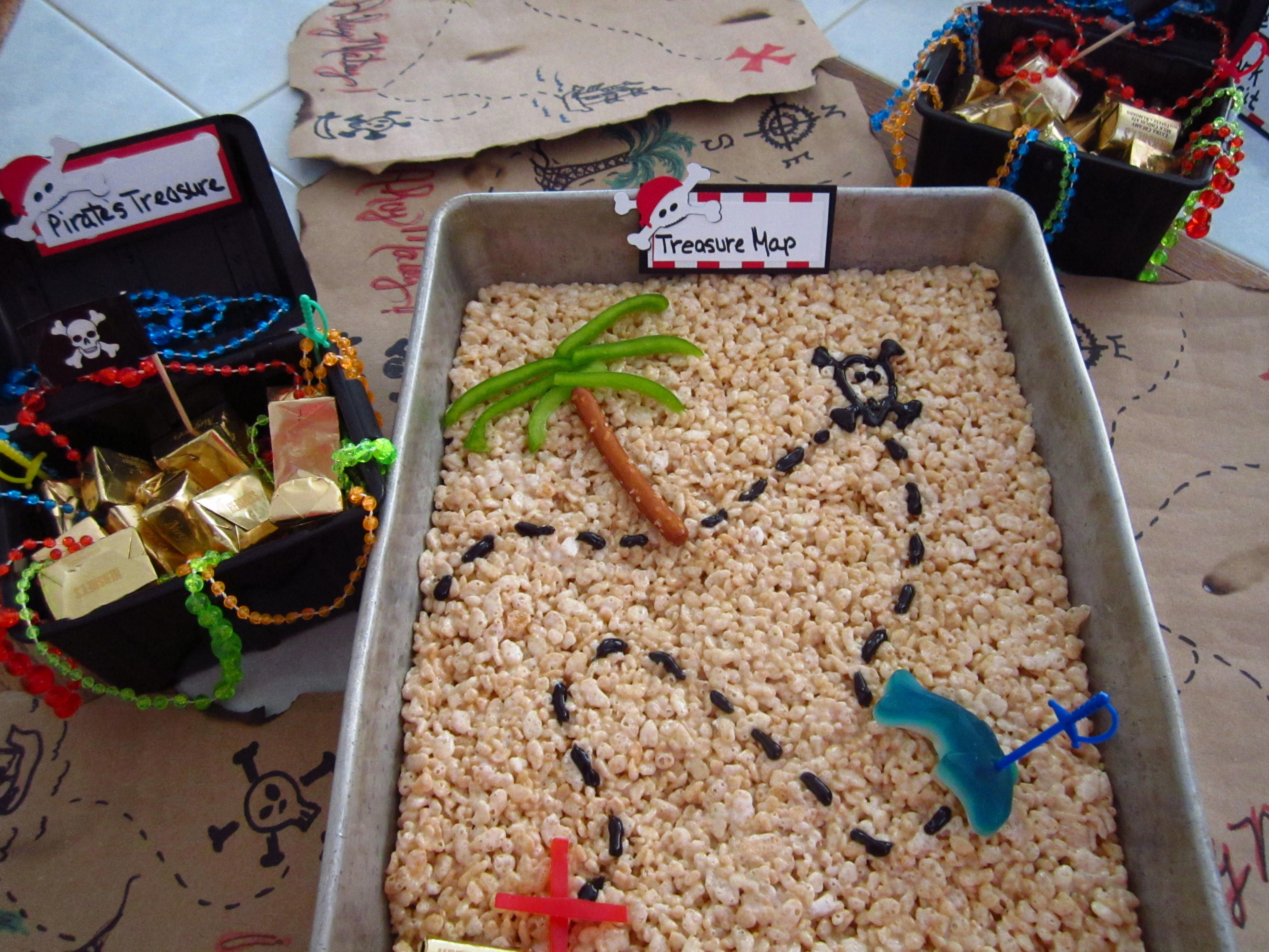Pirate Treasure Map Rice Crispies And Candy Filled