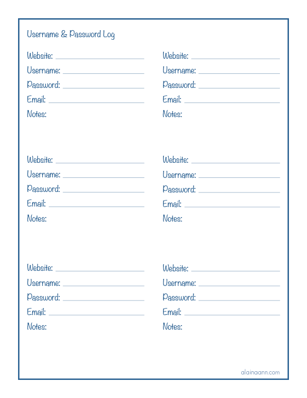 Username  Password Log  Organized Life Free Printable