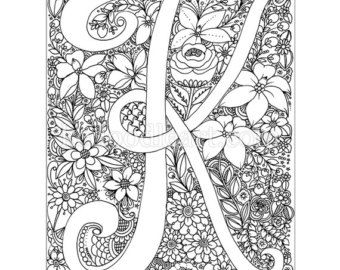 Instant Digital Download Adult Coloring Page Letter K Unique