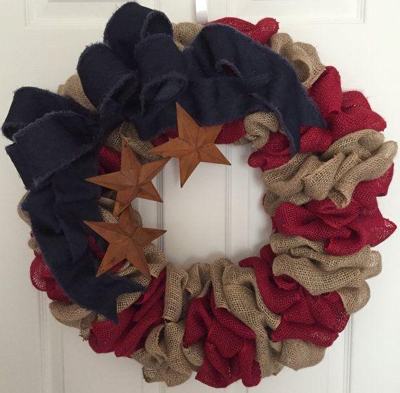 Patriotic Burlap Wreath, indoor or outdoor decoration, Memorial Day Wreath, 4th…