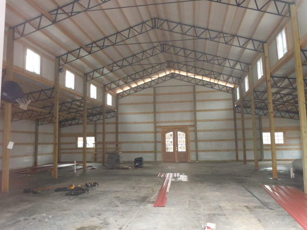 Inside 30x80 30x80 monitor enclosed steel truss metal for Metal building interior ideas