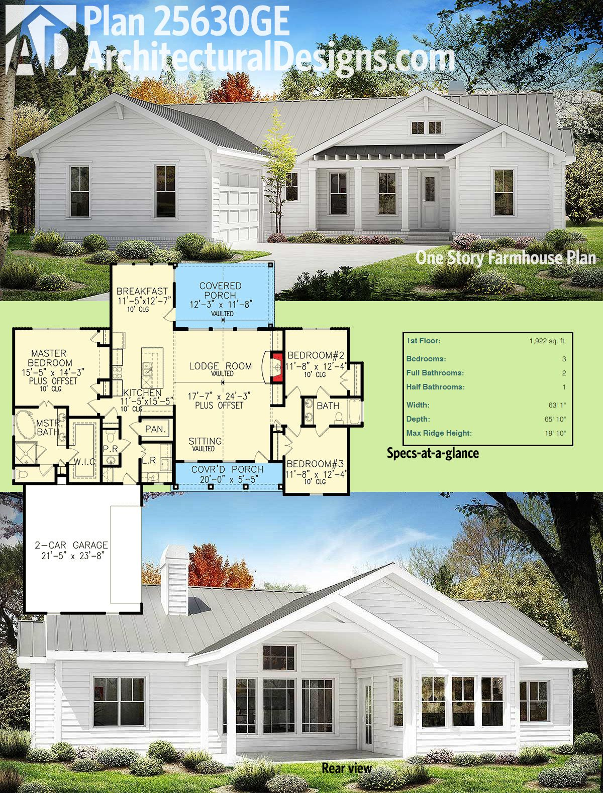 Architectural Designs One Story Modern Farmhouse Plan 25630GE Gives You 3  Beds And Over 1,900 Square