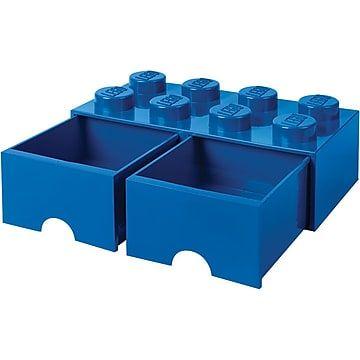 Lego Storage Brick Drawer 8 Bright Blue 7 1 H X 19 7 W X 9 8 D Lego Storage Lego Storage Brick Lego Room