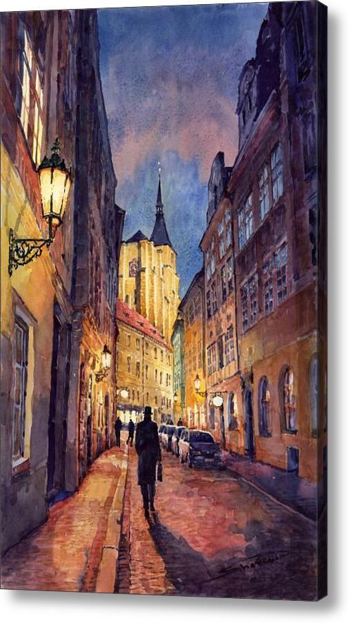 Prague Husova Street Acrylic Print By Yuriy Shevchuk Cityscape Painting City Painting Modern Wall Art Canvas