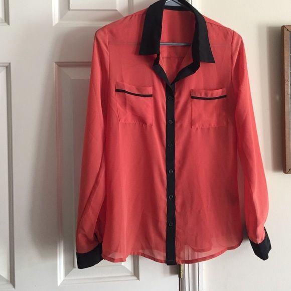 Wardrobe addition Sheer blouse orange with black accents. Wear with cami and black skirt for work or with jeans for fun Tops Blouses