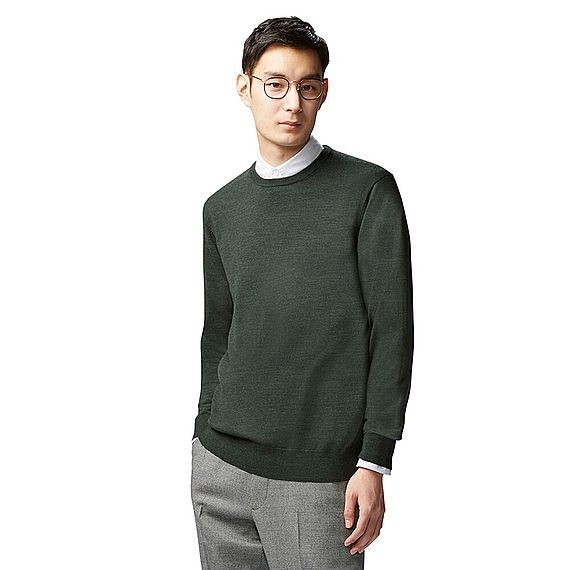 600da9fd1f0be Men s extra fine Merino crew neck sweater in dark green.